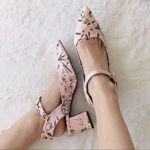 {zara} brocade Sakura blossom ankle heels